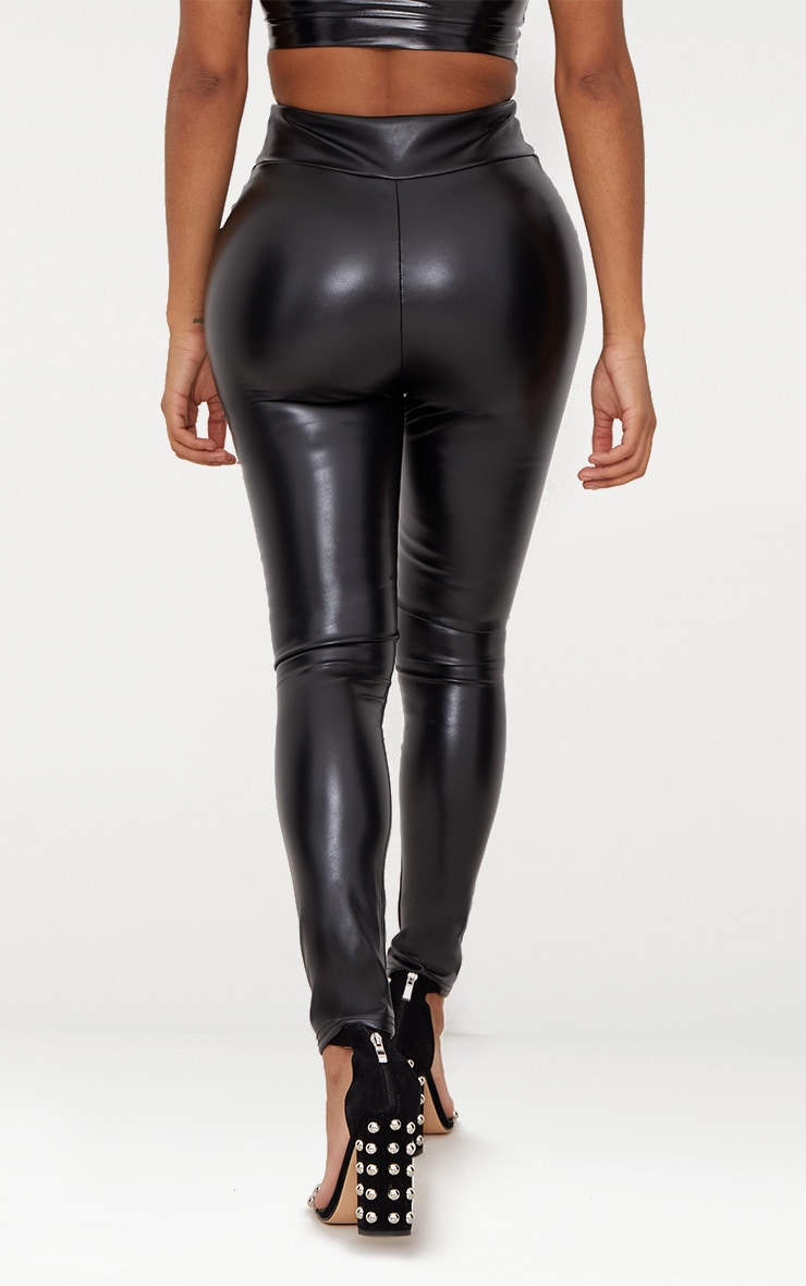 Shape Black Matte PU Leggings 4