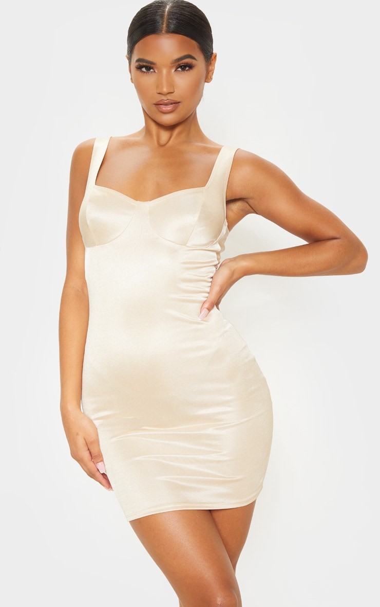 Champagne Shimmer Cup Detail Bodycon Dress 1