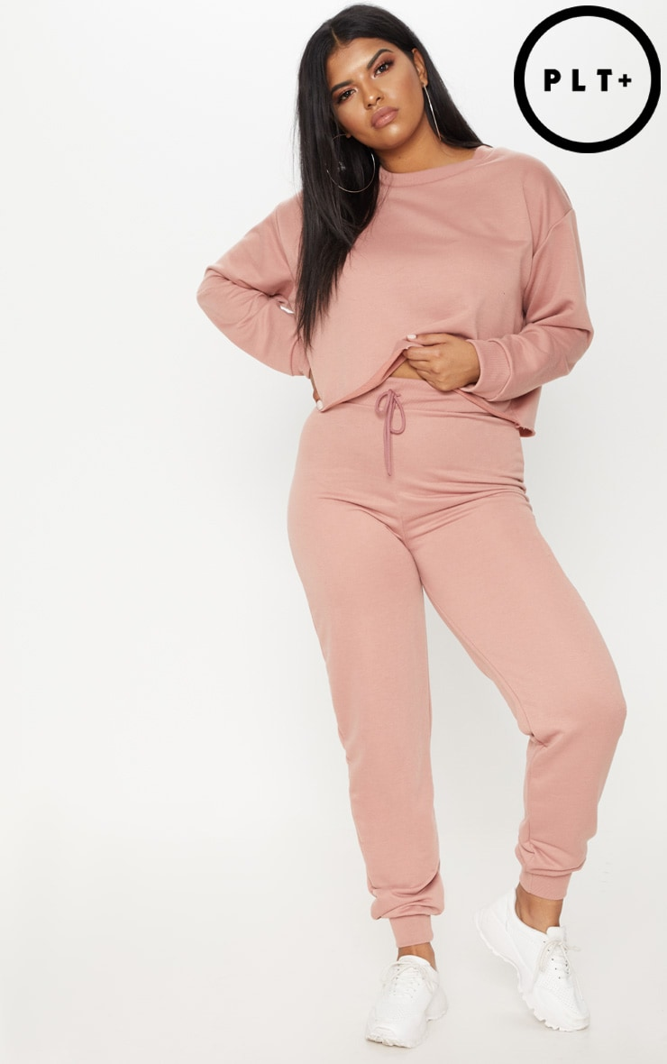 Plus - Pantalon de jogging rose cendré 1