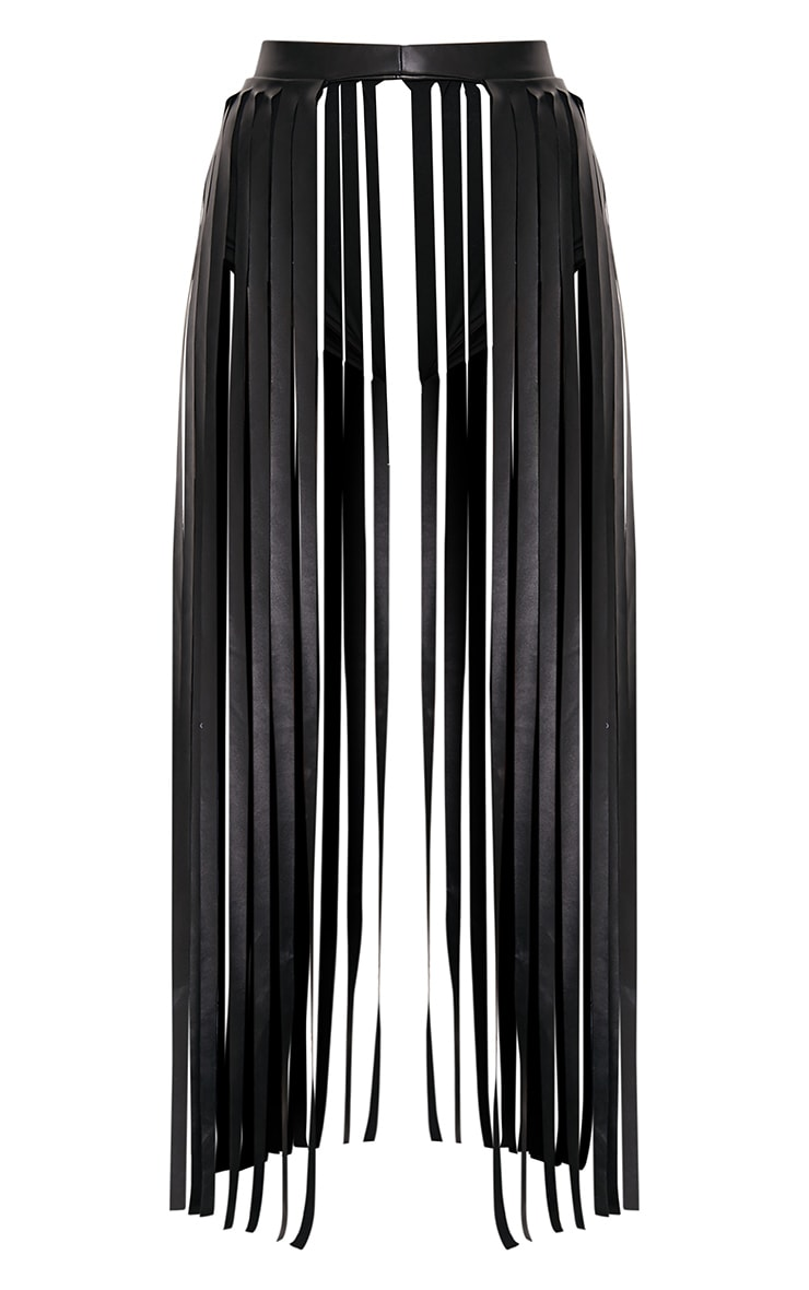 Dee Black Faux Leather Extreme Fringe Belt 3