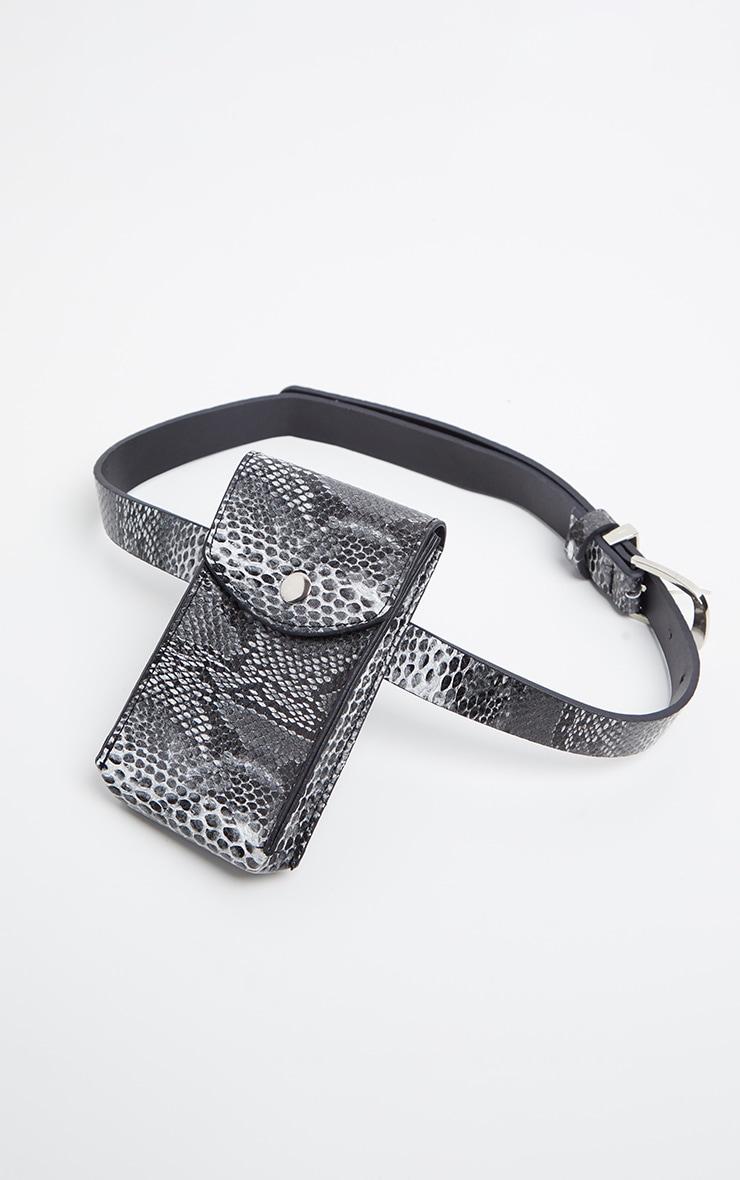 Grey Snake Phone Pouch Belt Bag