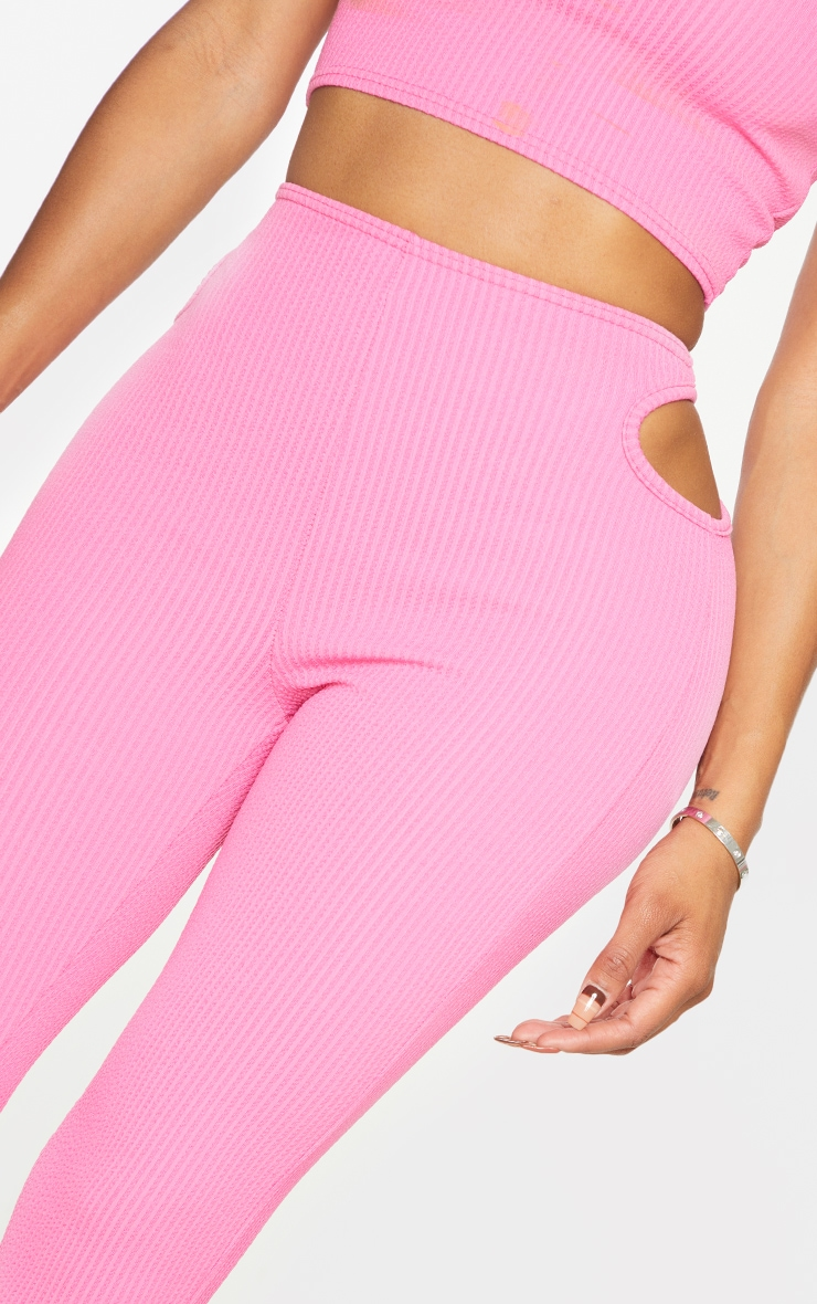 Shape Pink Textured Rib Cut Out Side Cropped Leggings 4