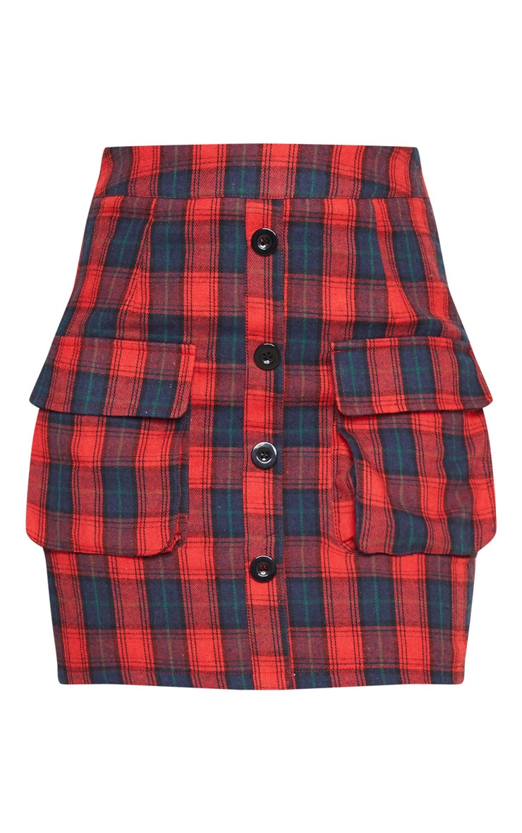 Petite Red Button Front Checked Mini Skirt 3