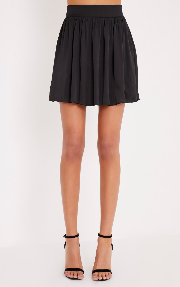 Ostara Black Floaty Satin Mini Skirt 2