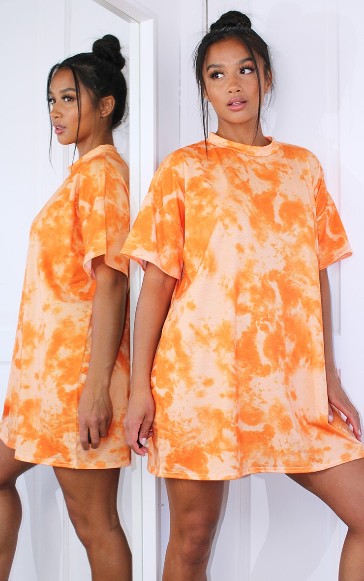Petite Orange Oversized Tie Dye T Shirt Dress 1