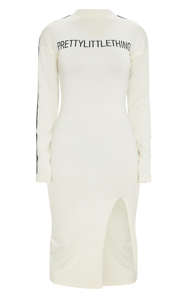 PRETTYLITTLETHING Cream Stripe Detail Knitted Midi Dress 5
