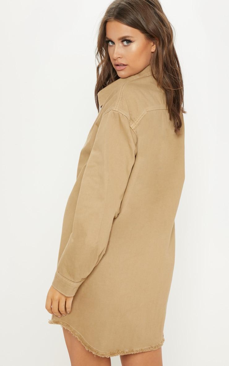 Stone Longline Button Through Denim Shirt Dress 2