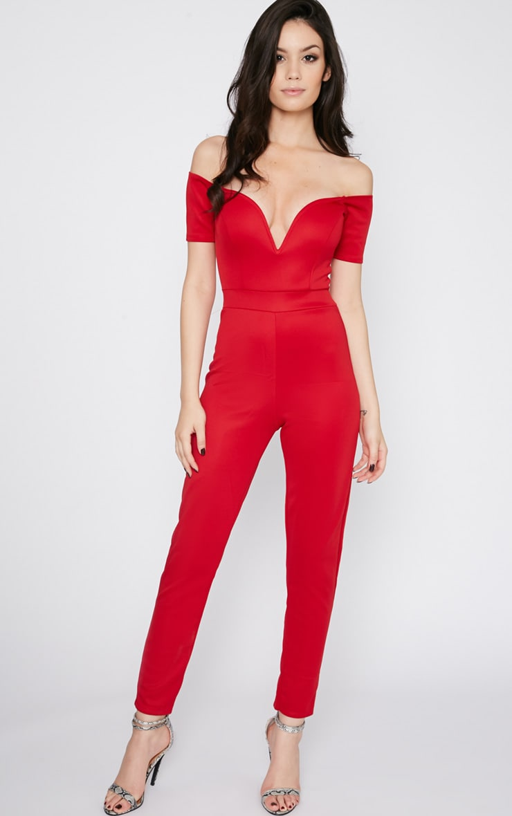 Azra Red Sweetheart Bardot Jumpsuit 1