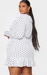 Plus White Polka Dot Frill Detail Wrap Dress 2