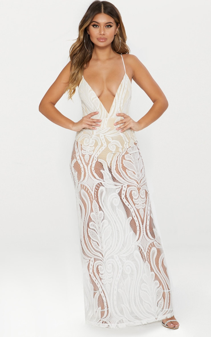 White Lace Strappy Plunge Maxi Dress 1