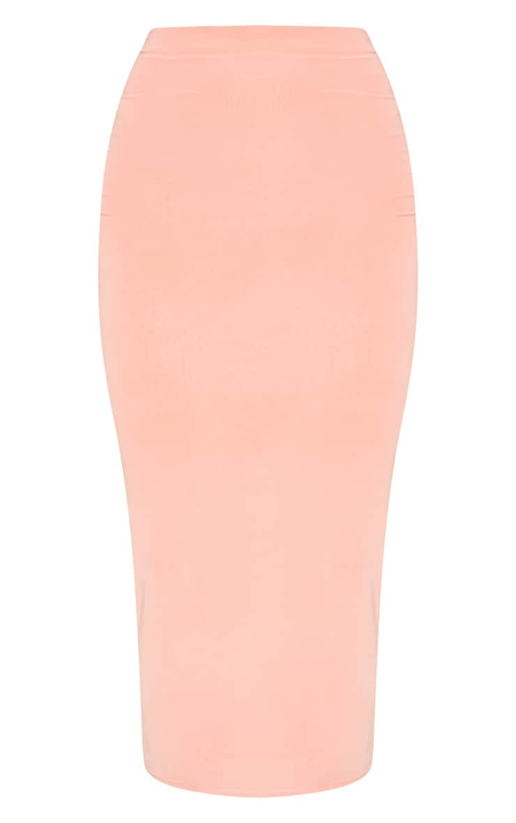 Peach Second Skin Slinky Longline Midi Skirt 3