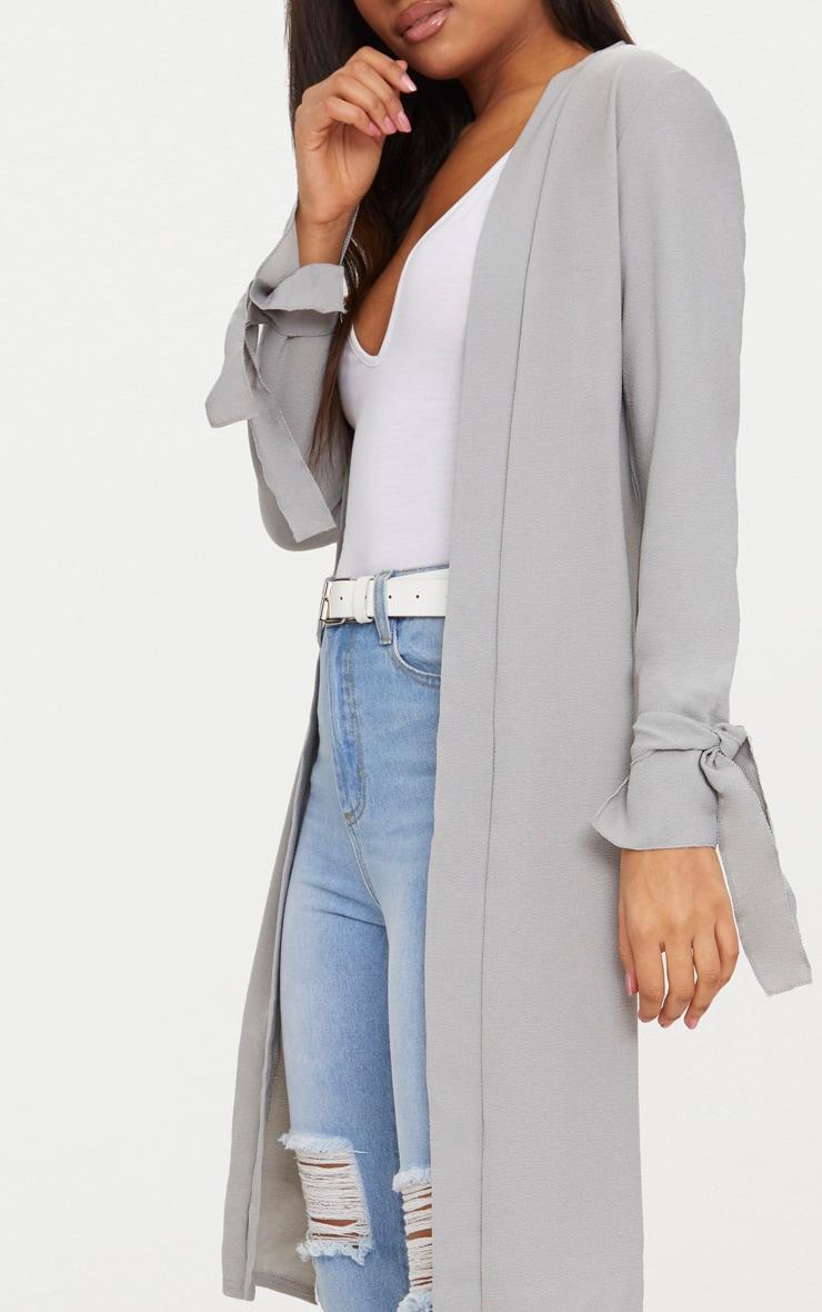 Aba manteau ample gris à manches nouées 5