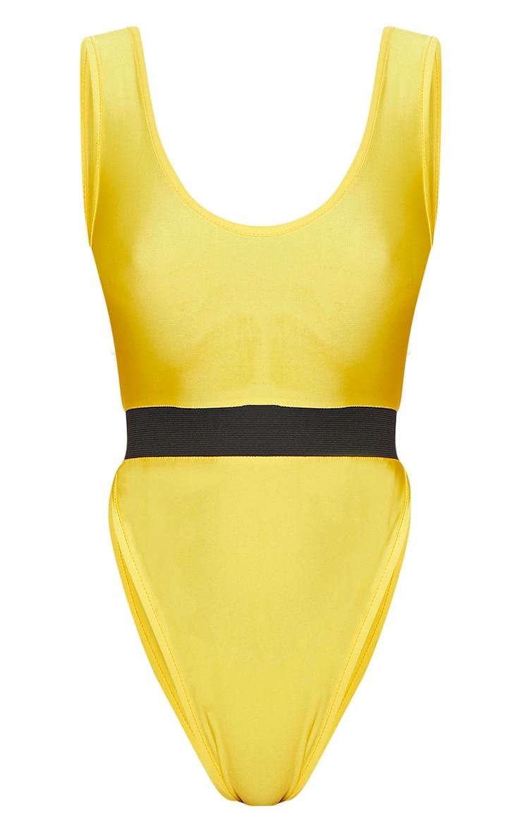 Yellow Elastic Waist High Leg Swimsuit 3