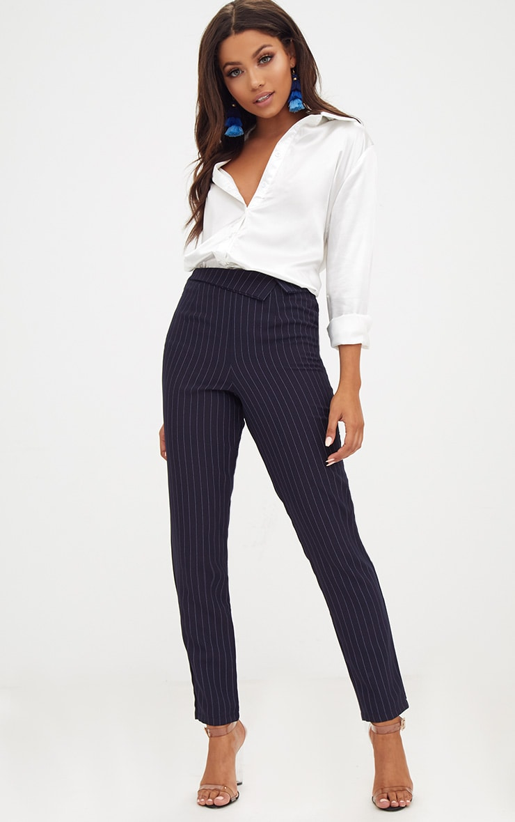 Navy Pinstripe Collar Waist Trousers 1