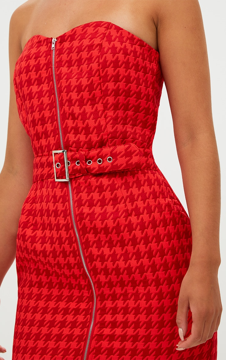 Red Houndstooth Buckle Detail Bandeau Bodycon Dress  5