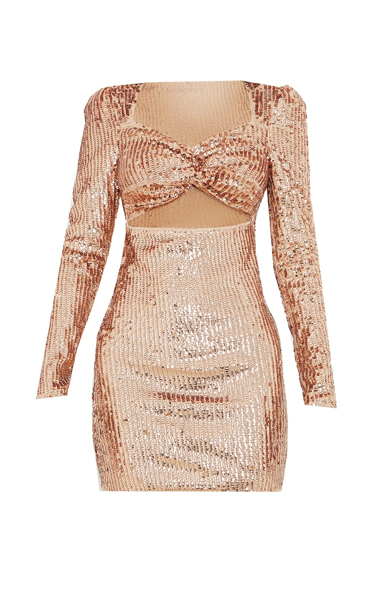 Rose Gold Sequin Twist Front Long Sleeve Bodycon Dress 5
