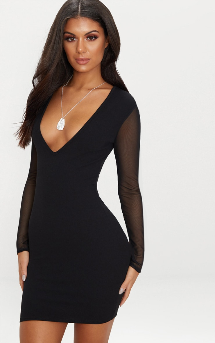 Black Mesh Sleeve Plunge Bodycon Dress 1