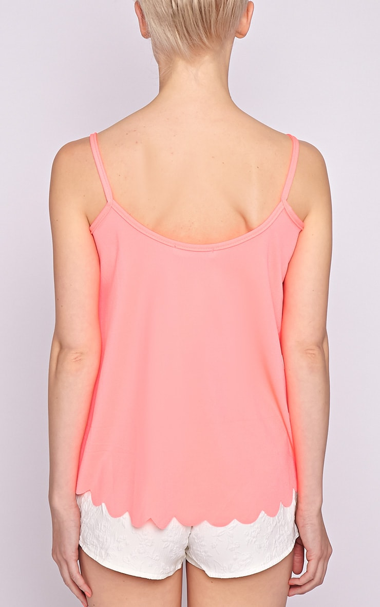 Kailey Neon Pink Scallop Vest 2