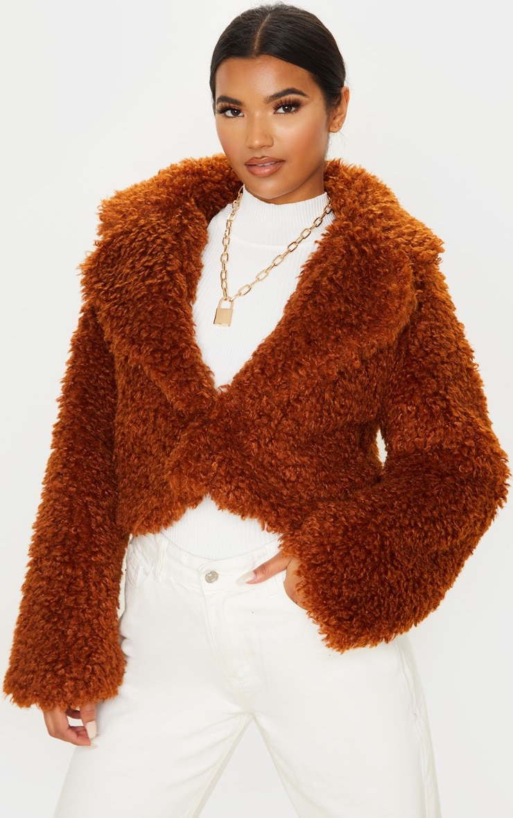 Brown Cropped Teddy Faux Fur Coat 1