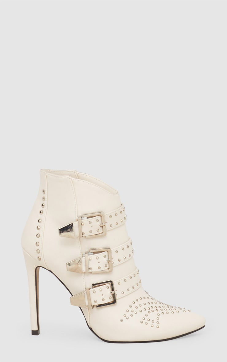 White Studded Buckle Ankle Boots 3