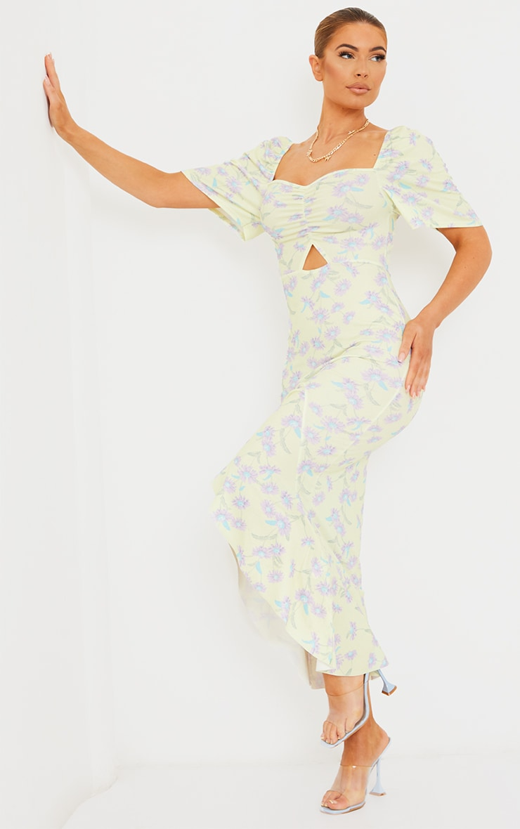 Yellow Floral Print Short Sleeve Ruched Bust Midi Dress 3