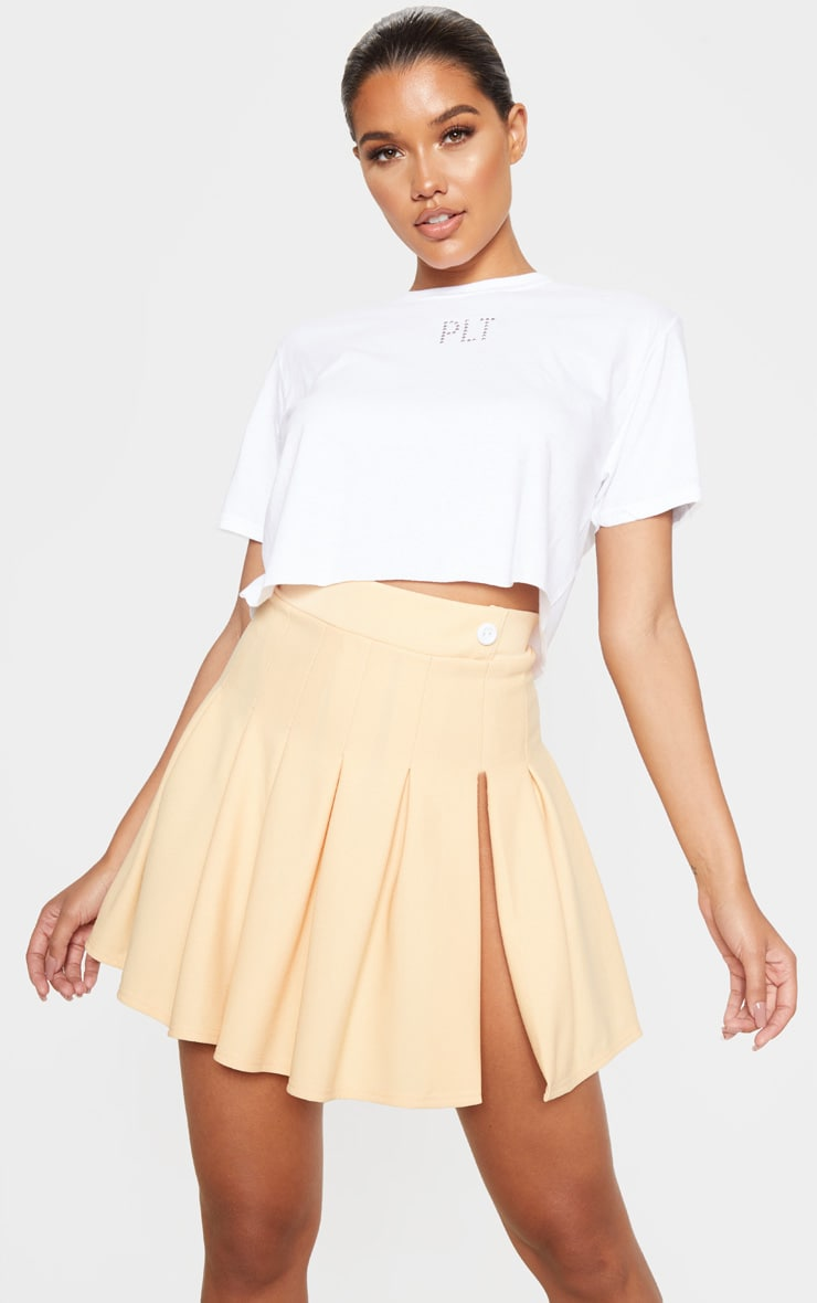 Fawn Pleated Side Split Tennis Skirt 1