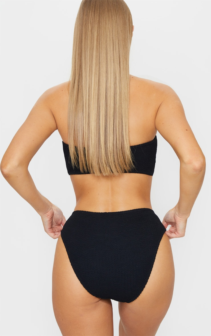 Black Ring Detail Crinkle Bikini Bottoms 3