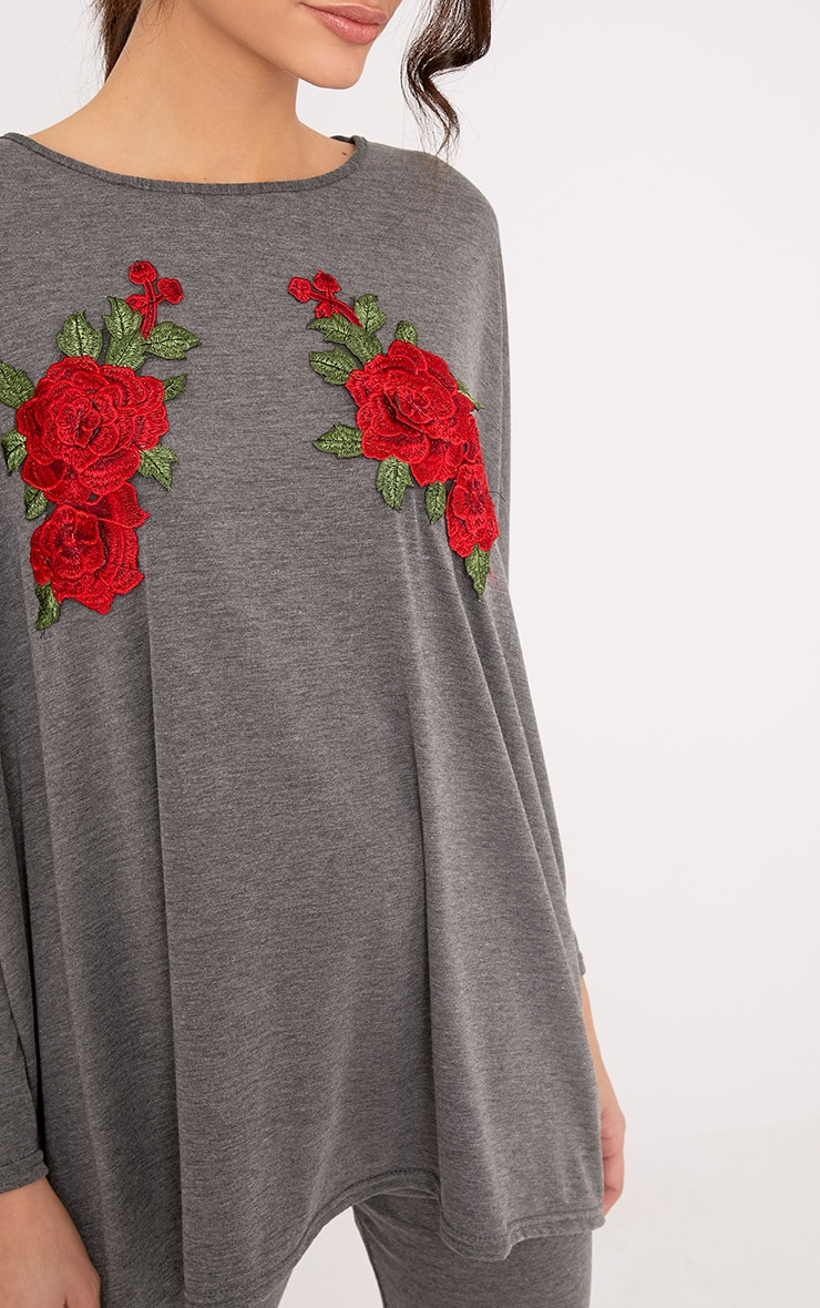 Mandy Grey Floral Embroidery Top & Leggings Set 5