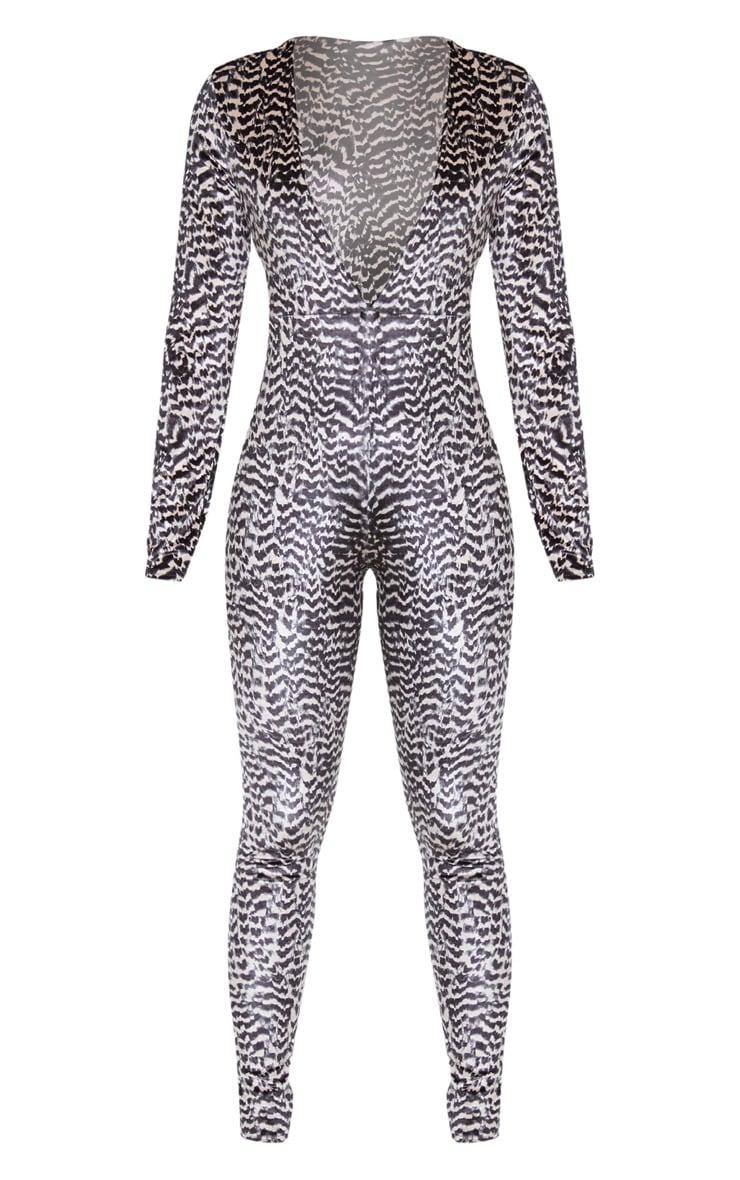 Nude Animal Print Velvet Jumpsuit  3