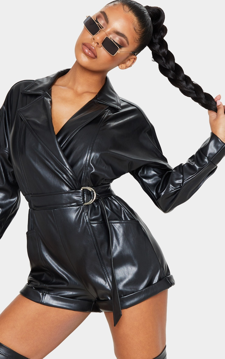 Black Faux Leather Biker Style Playsuit 5
