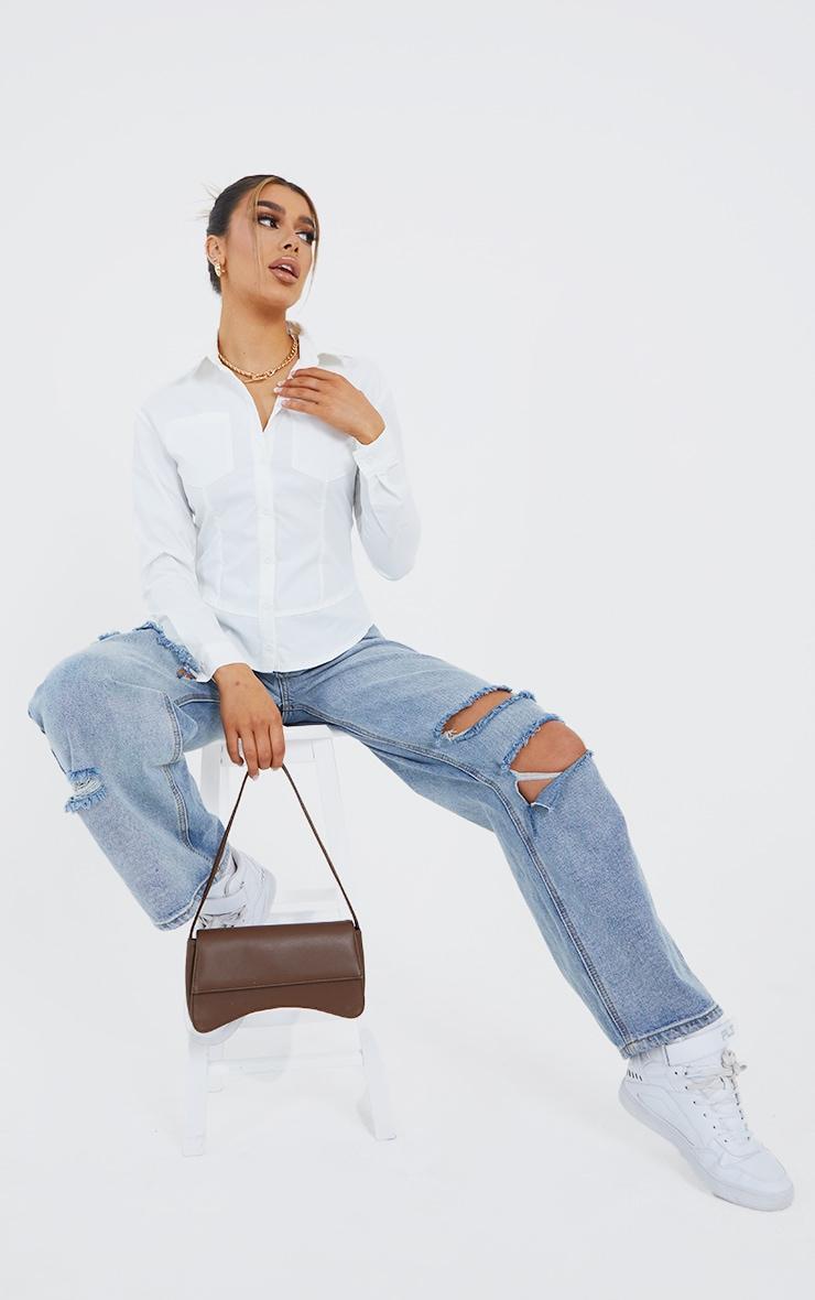 White Poplin Hem Detail Double Pocket Fitted Shirt 1