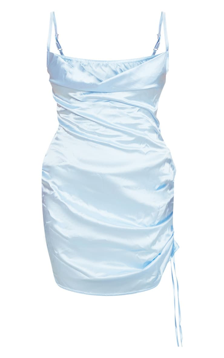 Plus Baby Blue Satin Cowl Ruched Side Bodycon Dress 4