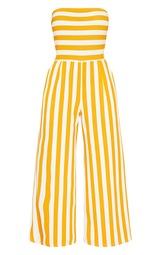 9569e6a87ca Mustard Contrast Stripe Bandeau Culotte Jumpsuit image 4