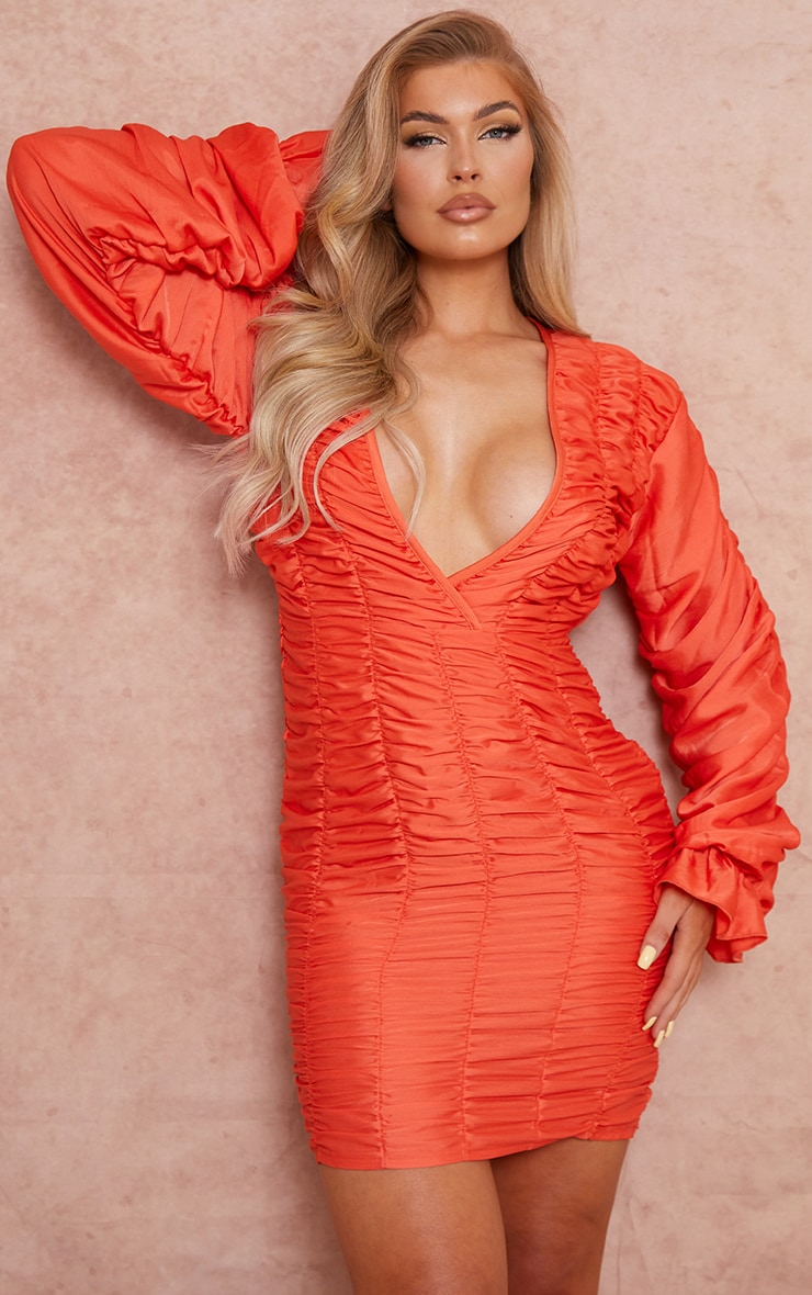 Coral Gathered Detail Plunge Ruched Sleeve Bodycon Dress 3