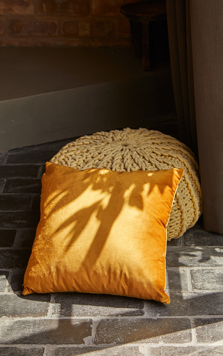 Yellow Velvet Cushion 1