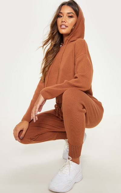 8c203ffc99a5 Rust Cropped Hooded Knitted Lounge Set
