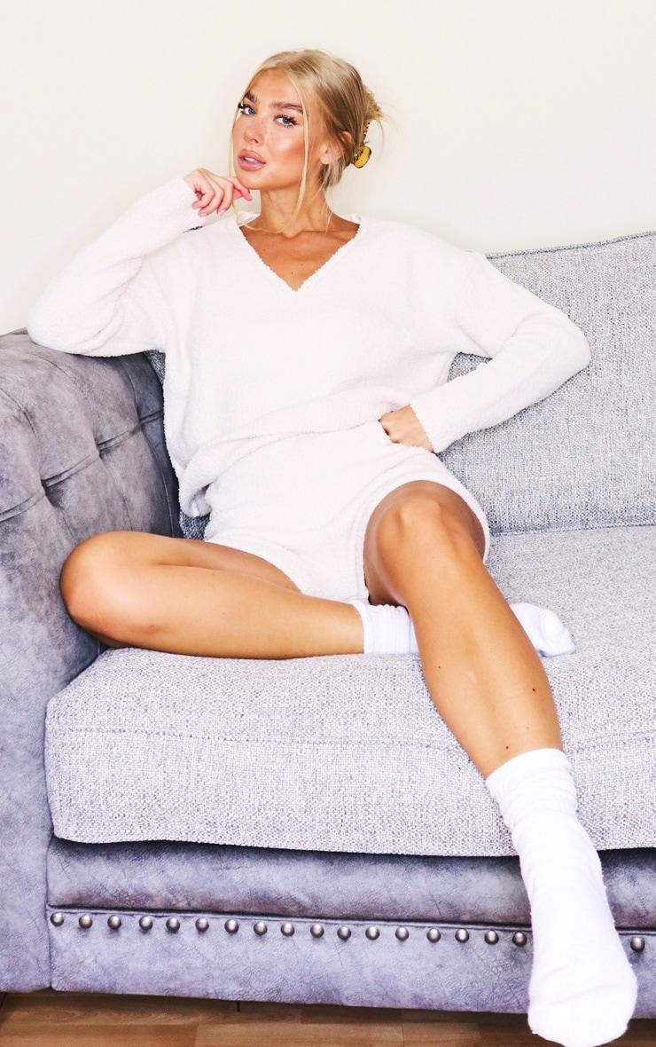 Cream Premium Fluffy Knit Shorts Lounge Set 3