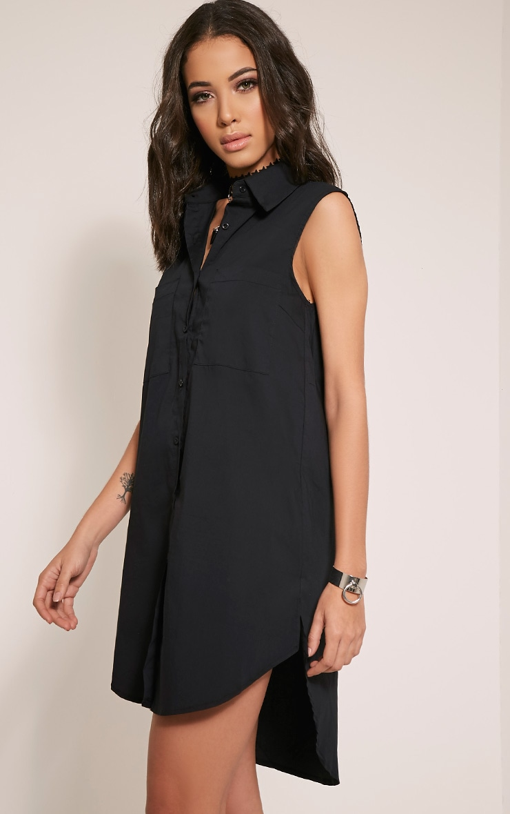 Kaydie Black Sleeveless Shirt Dress 4
