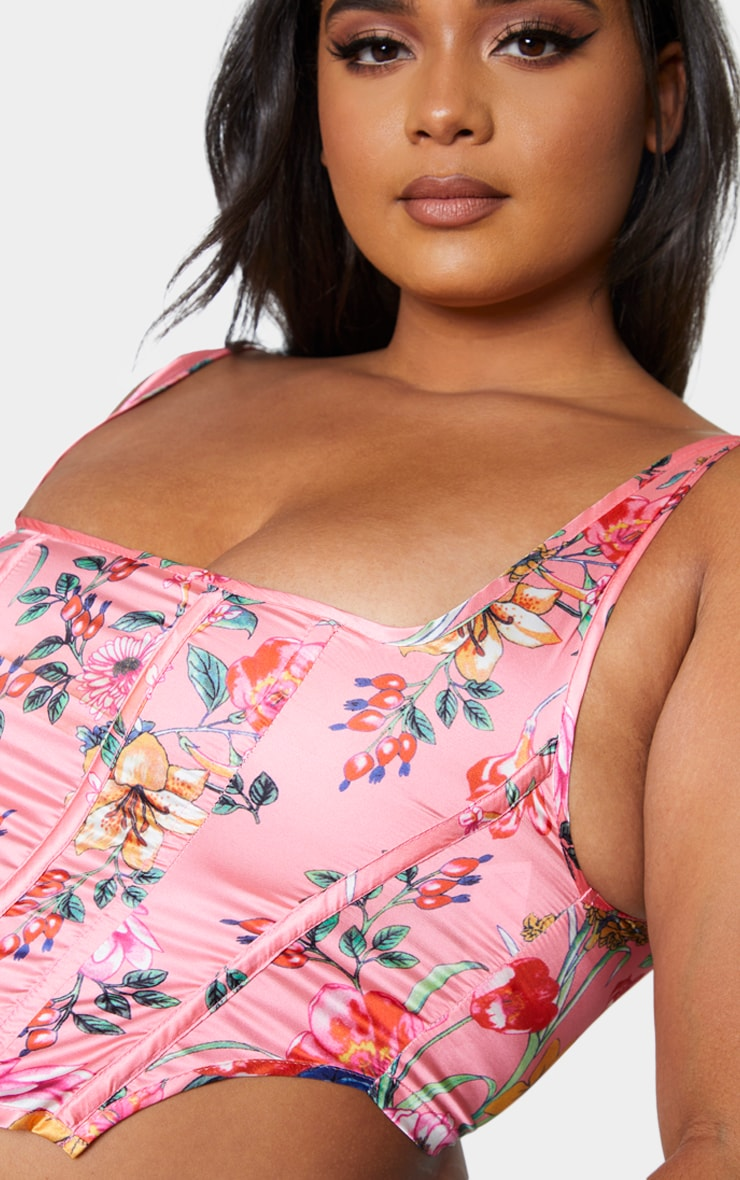 Plus Pink Floral Print Corset Crop Top 4