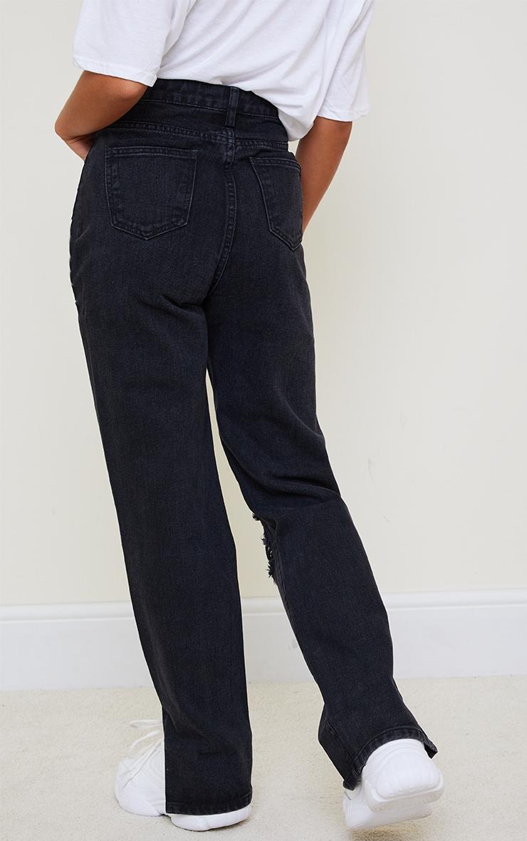 Petite Black Full Distressed Split Hem Denim Jeans 3