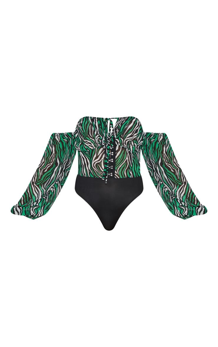 Green Zebra Hook & Eye Bardot Long Sleeve Bodysuit 3