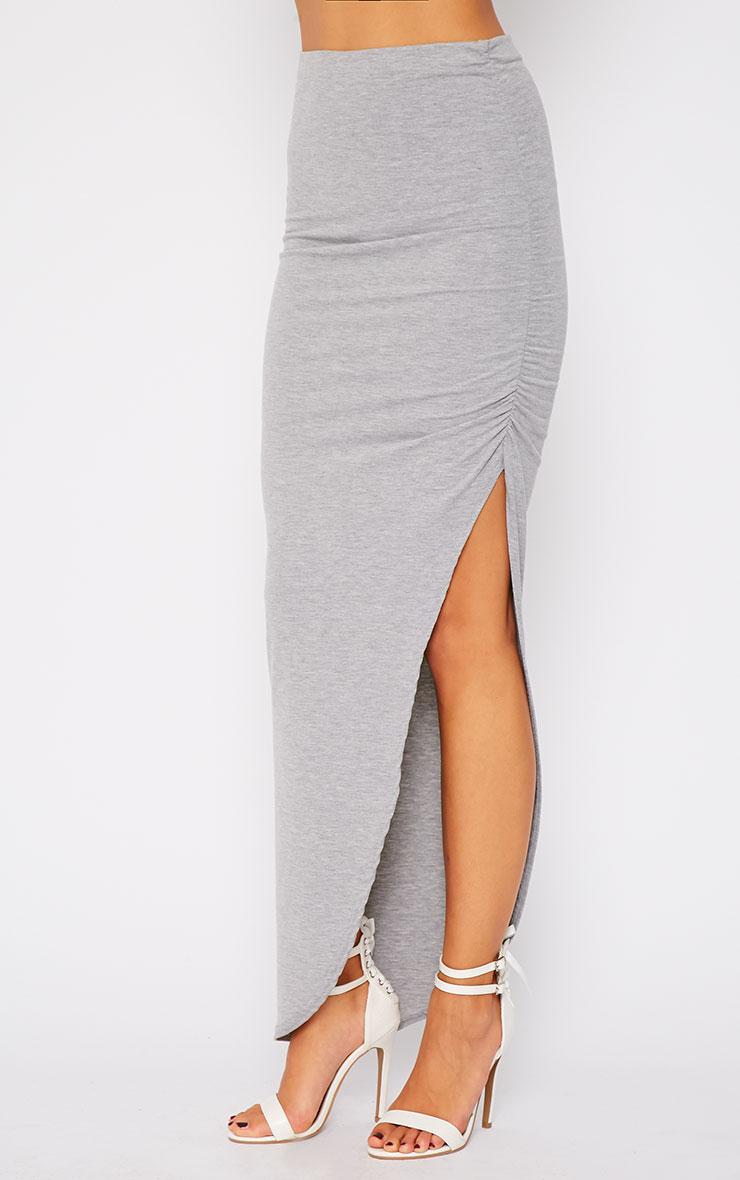 Etta Grey Ruched Jersey Maxi Skirt 4