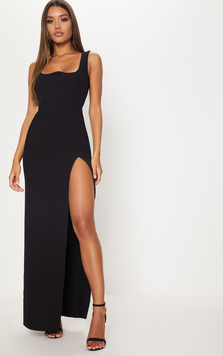Black Square Neck V Cut Split Leg Maxi Dress 1