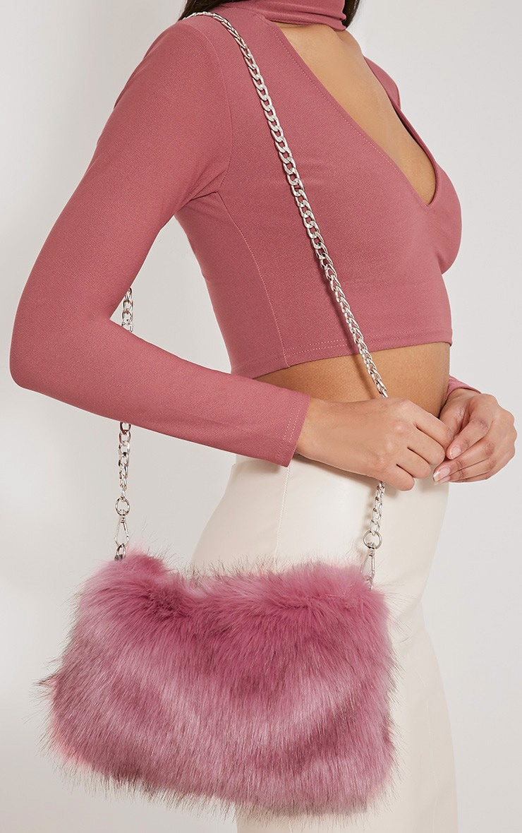 Christah Rose Faux Fur Chain Shoulder Bag 1