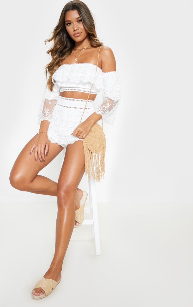 White Mesh Embroidered High Waisted Hot Pants 5