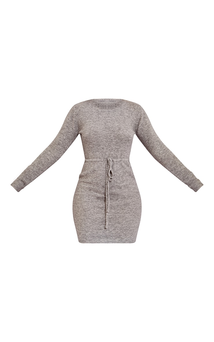 Recycled Grey Knitted Drawstring Mini Dress 5