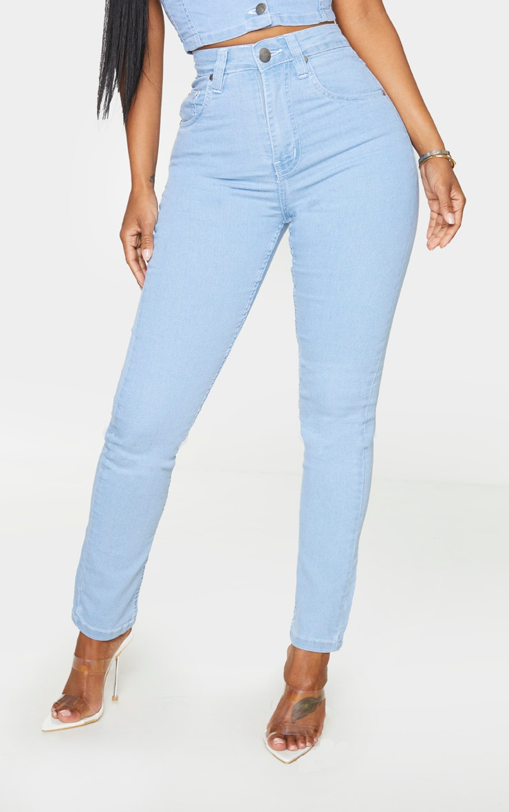 Shape Light Blue Wash High Waist Straight Leg Jeans 2