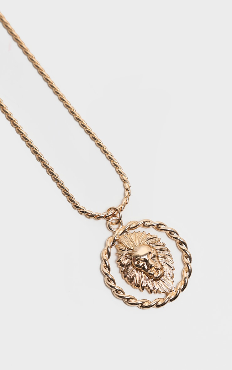 Gold Oversized Lion Head Charm Necklace 1