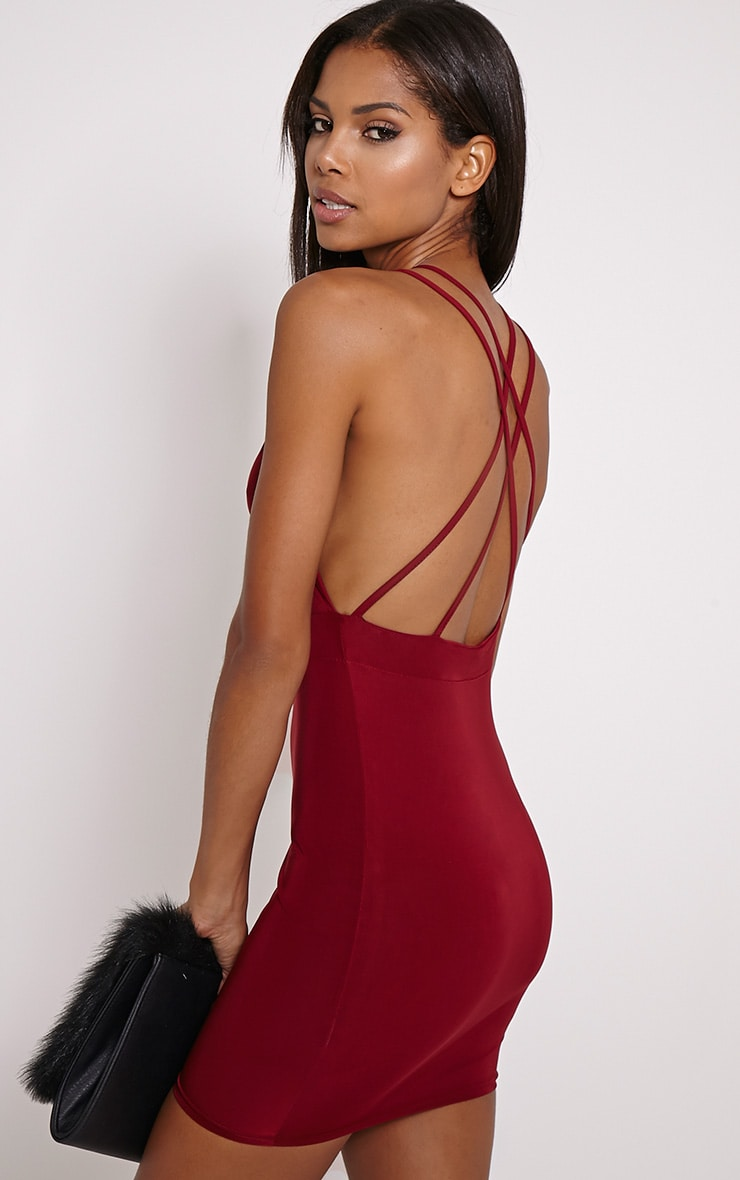 Millia Burgundy Back Detail Mini Dress 1