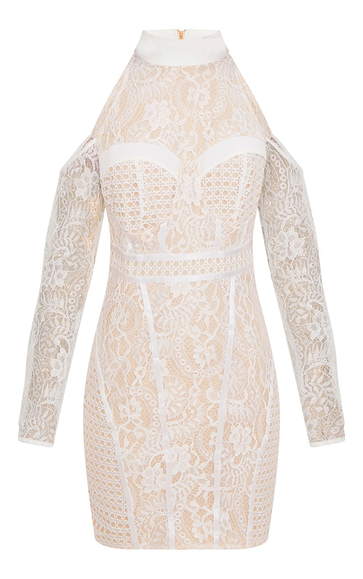 White Cold Shoulder Lace Panelled Bodycon Dress 3